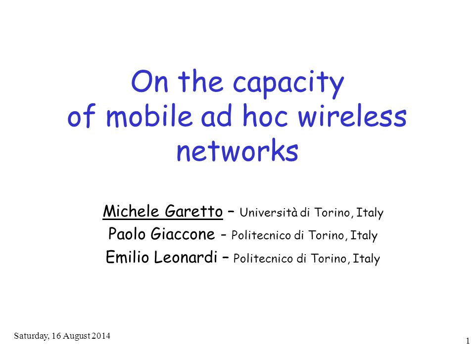 22 Outline  Introduction and motivation  Capacity properties of finite networks  Application to experimental traces  Asymptotic network capacity  Application of asymptotic analysis