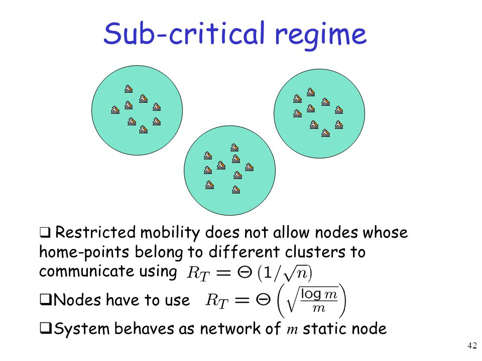 42 Sub-critical regime  Restricted mobility does not allow nodes whose home-points belong to different clusters to communicate using  Nodes have to