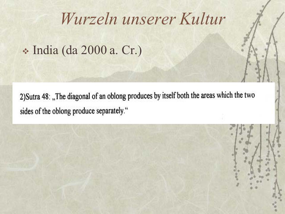 Wurzeln unserer Kultur  India (da 2000 a. Cr.)
