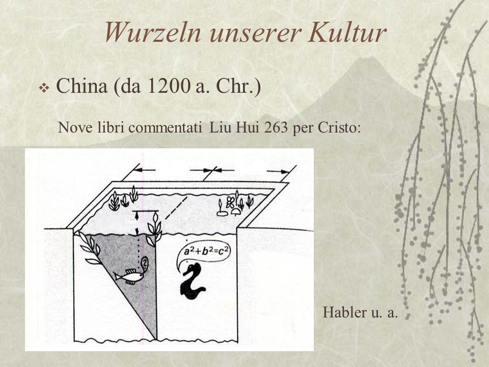 Wurzeln unserer Kultur  China (da 1200 a. Chr.) Nove libri commentati Liu Hui 263 per Cristo: Habler u. a.