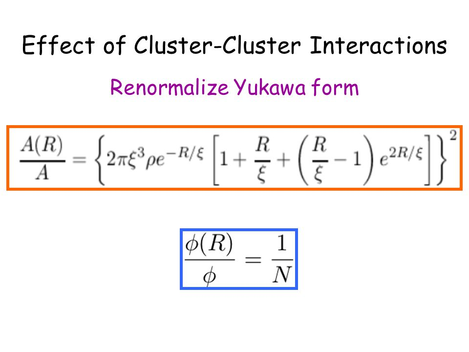 Effect of Cluster-Cluster Interactions Renormalize Yukawa form