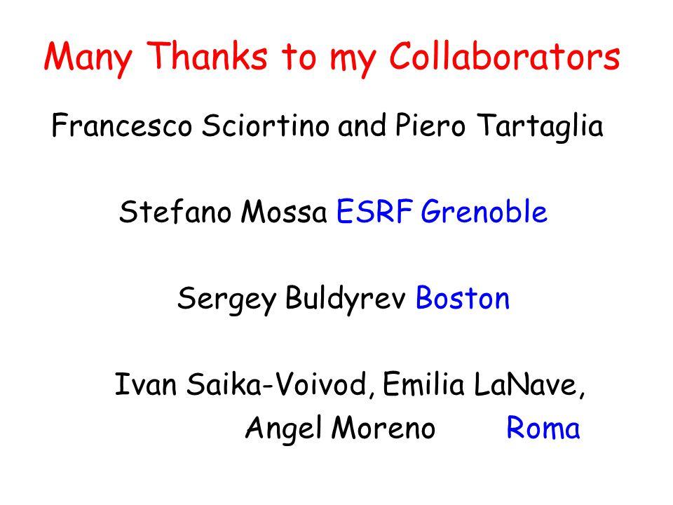 Many Thanks to my Collaborators Francesco Sciortino and Piero Tartaglia Stefano Mossa ESRF Grenoble Sergey Buldyrev Boston Ivan Saika-Voivod, Emilia LaNave, Angel Moreno Roma