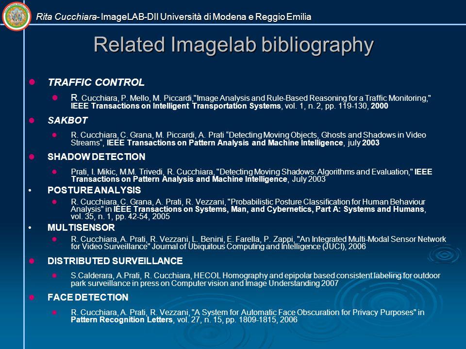 Rita Cucchiara- ImageLAB-DII Università di Modena e Reggio Emilia Related Imagelab bibliography TRAFFIC CONTROL R.