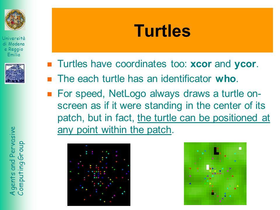 Agents and Pervasive Computing Group Università di Modena e Reggio Emilia Turtles Turtles have coordinates too: xcor and ycor. The each turtle has an
