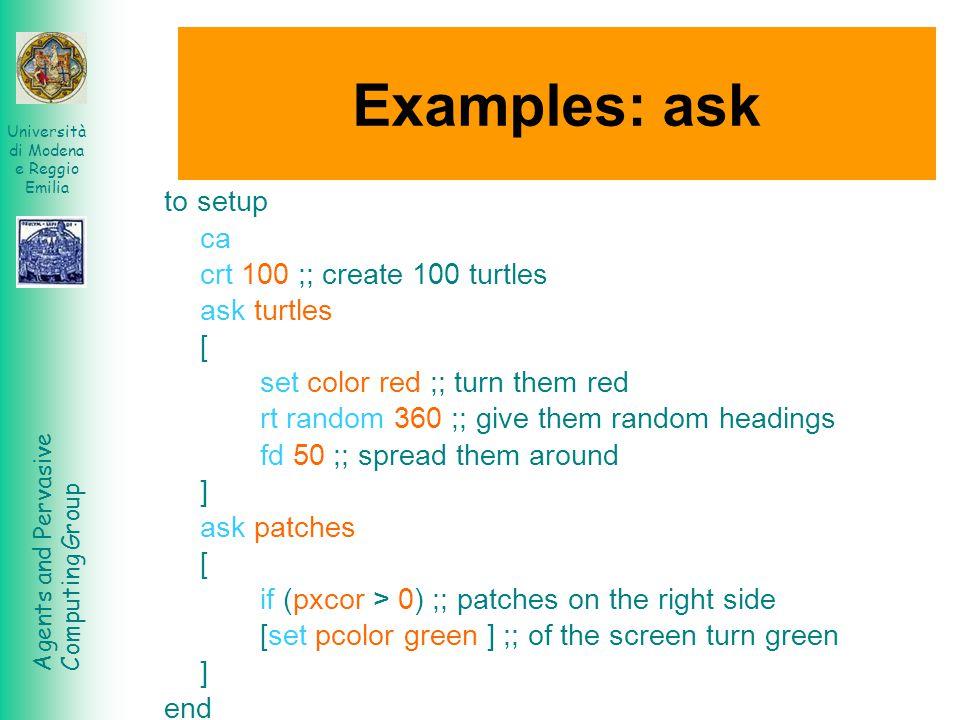 Agents and Pervasive Computing Group Università di Modena e Reggio Emilia Examples: ask to setup ca crt 100 ;; create 100 turtles ask turtles [ set co