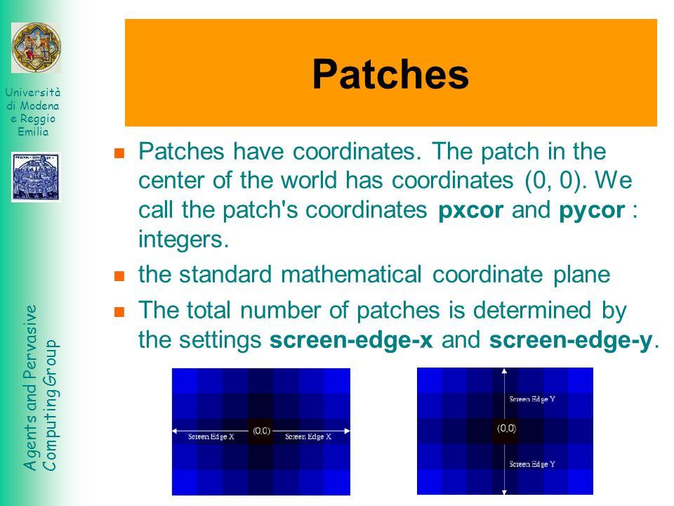 Agents and Pervasive Computing Group Università di Modena e Reggio Emilia Patches Patches have coordinates. The patch in the center of the world has c