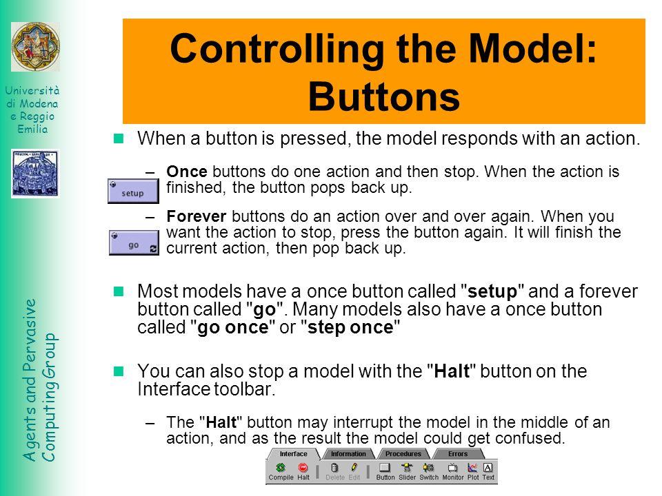 Agents and Pervasive Computing Group Università di Modena e Reggio Emilia Landscape Press the setup button back in the model s interface.
