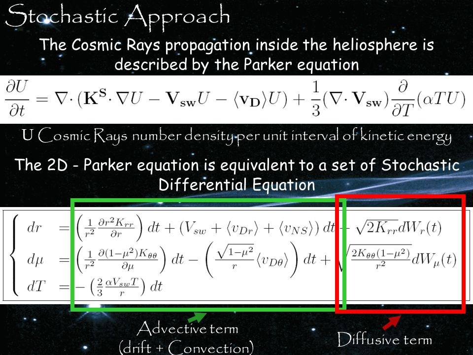 The Cosmic Rays propagation inside the heliosphere is described by the Parker equation U Cosmic Rays number density per unit interval of kinetic energy Diffusive term Advective term (drift + Convection) Stochastic Approach The 2D - Parker equation is equivalent to a set of Stochastic Differential Equation