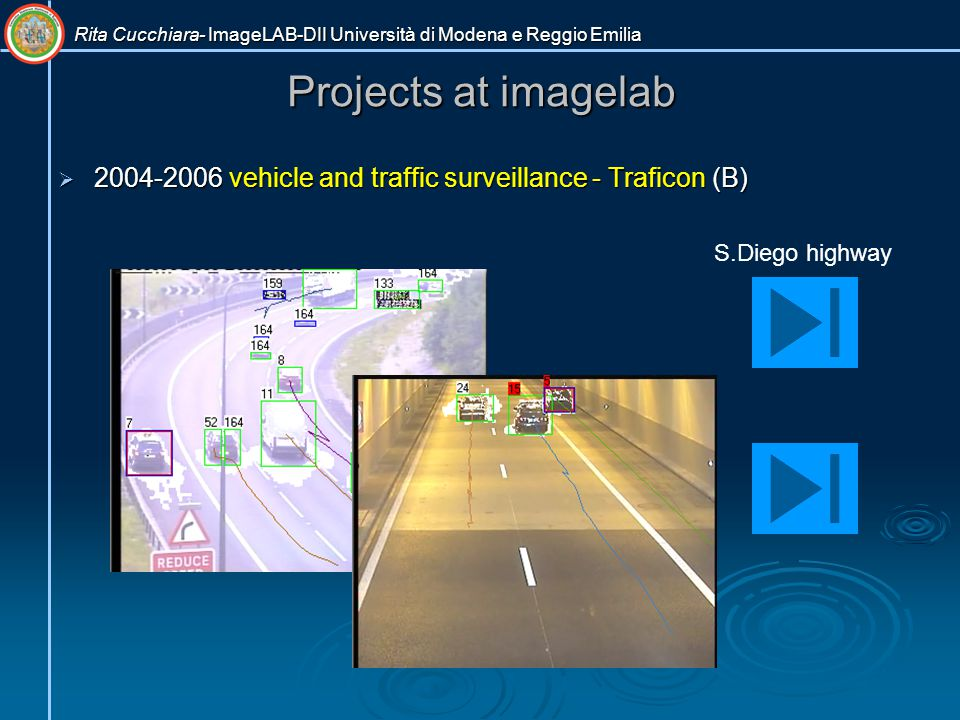 Projects at imagelab  2004-2006 vehicle and traffic surveillance - Traficon (B) S.Diego highway