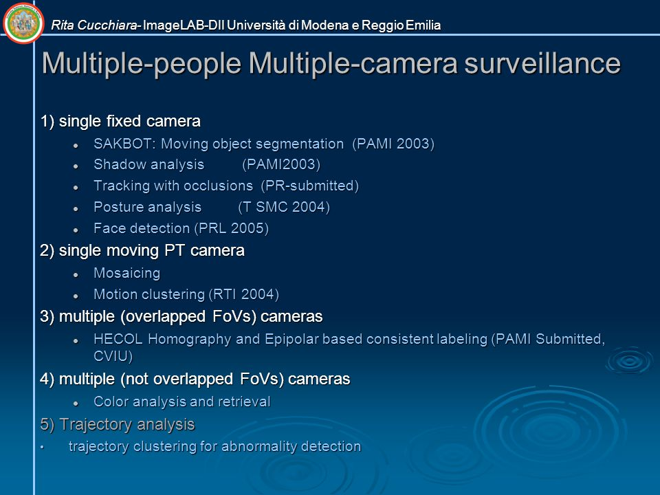 Multiple-people Multiple-camera surveillance 1) single fixed camera SAKBOT: Moving object segmentation (PAMI 2003) SAKBOT: Moving object segmentation (PAMI 2003) Shadow analysis (PAMI2003) Shadow analysis (PAMI2003) Tracking with occlusions (PR-submitted) Tracking with occlusions (PR-submitted) Posture analysis(T SMC 2004) Posture analysis(T SMC 2004) Face detection (PRL 2005) Face detection (PRL 2005) 2) single moving PT camera Mosaicing Mosaicing Motion clustering (RTI 2004) Motion clustering (RTI 2004) 3) multiple (overlapped FoVs) cameras HECOL Homography and Epipolar based consistent labeling (PAMI Submitted, CVIU) HECOL Homography and Epipolar based consistent labeling (PAMI Submitted, CVIU) 4) multiple (not overlapped FoVs) cameras Color analysis and retrieval Color analysis and retrieval 5) Trajectory analysis trajectory clustering for abnormality detection trajectory clustering for abnormality detection Rita Cucchiara- ImageLAB-DII Università di Modena e Reggio Emilia