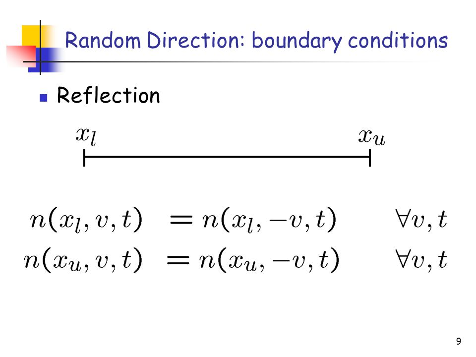 9 Reflection Random Direction: boundary conditions
