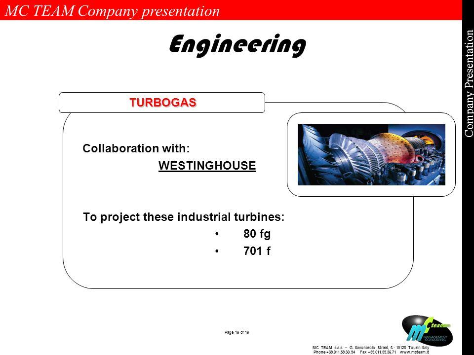 MC TEAM Company presentation Page 19 of 19 Company Presentation MC TEAM s.a.s.