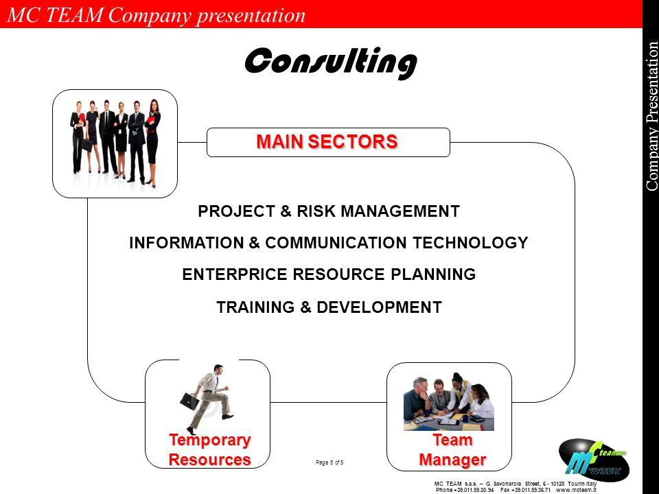 MC TEAM Company presentation Page 5 of 5 Company Presentation MC TEAM s.a.s.