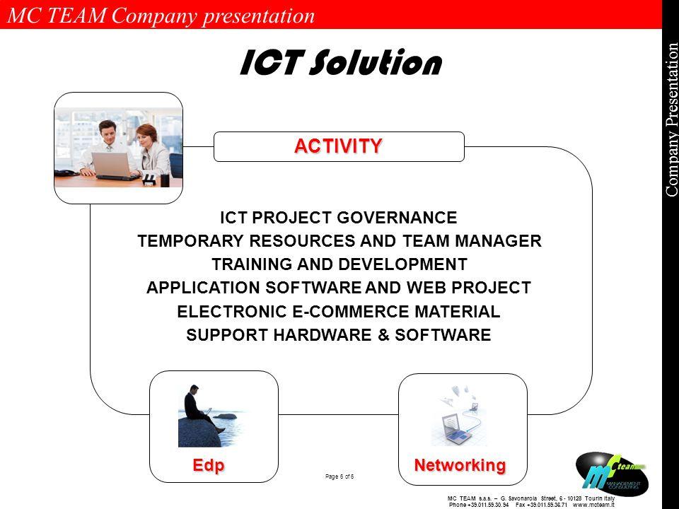 MC TEAM Company presentation Page 6 of 6 Company Presentation MC TEAM s.a.s.