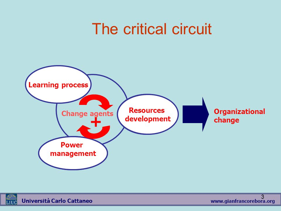 www.gianfrancorebora.org Università Carlo Cattaneo 3 POTERE + SVILUPPO DELLE RISORSE Learning process Power management Resources development Organizational change The critical circuit Change agents