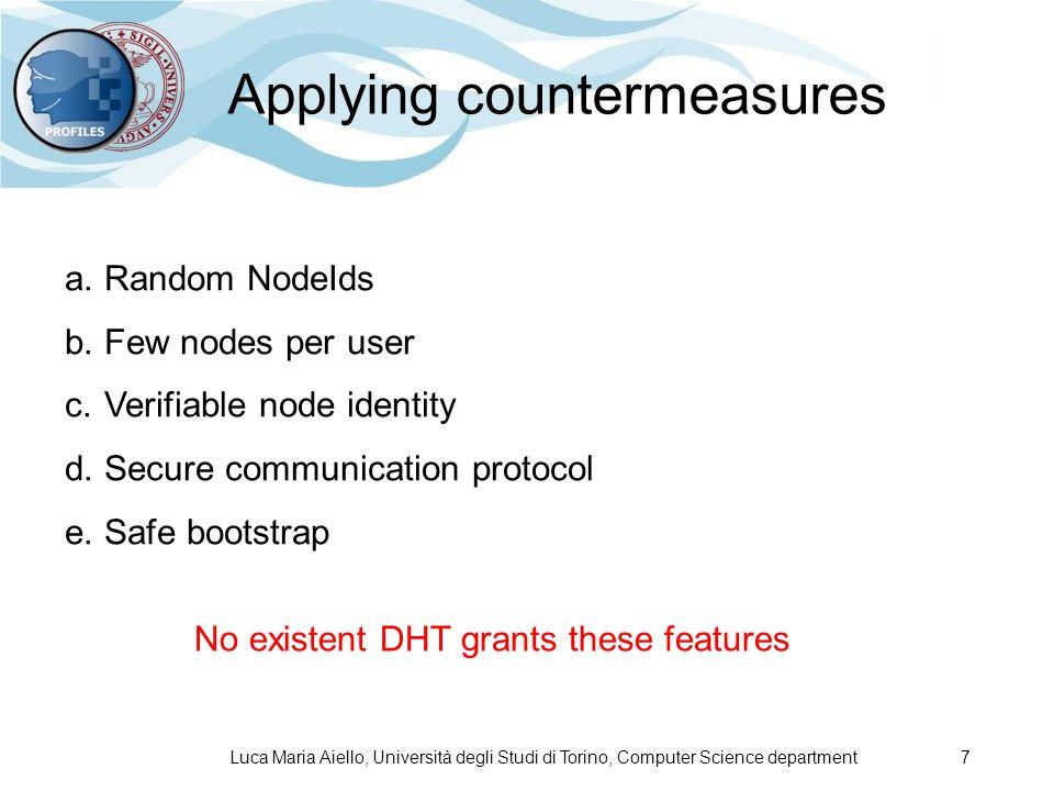 Luca Maria Aiello, Università degli Studi di Torino, Computer Science department 7 Applying countermeasures a.Random NodeIds b.Few nodes per user c.Ve