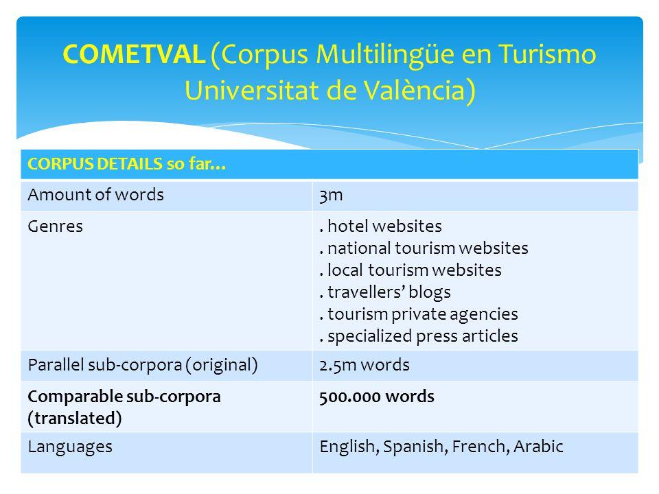 COMETVAL (Corpus Multilingüe en Turismo Universitat de València) CORPUS DETAILS so far… Amount of words3m Genres.