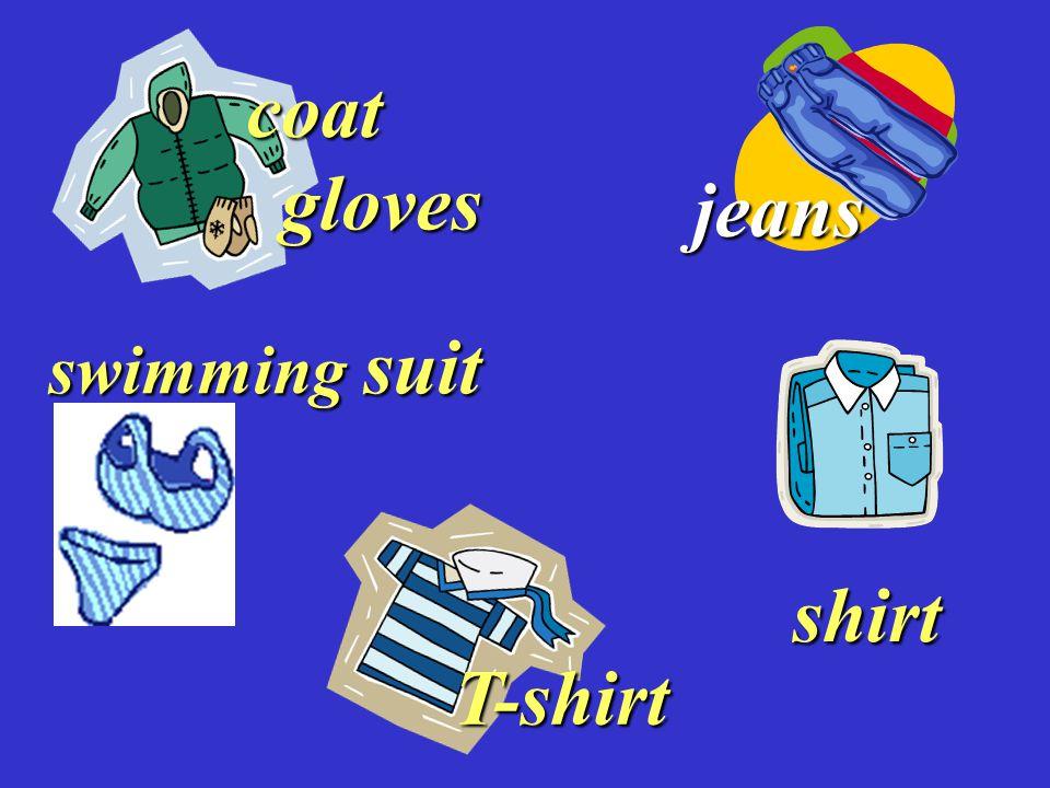 gloves gloves coat jeans swimming suit shirt T-shirt
