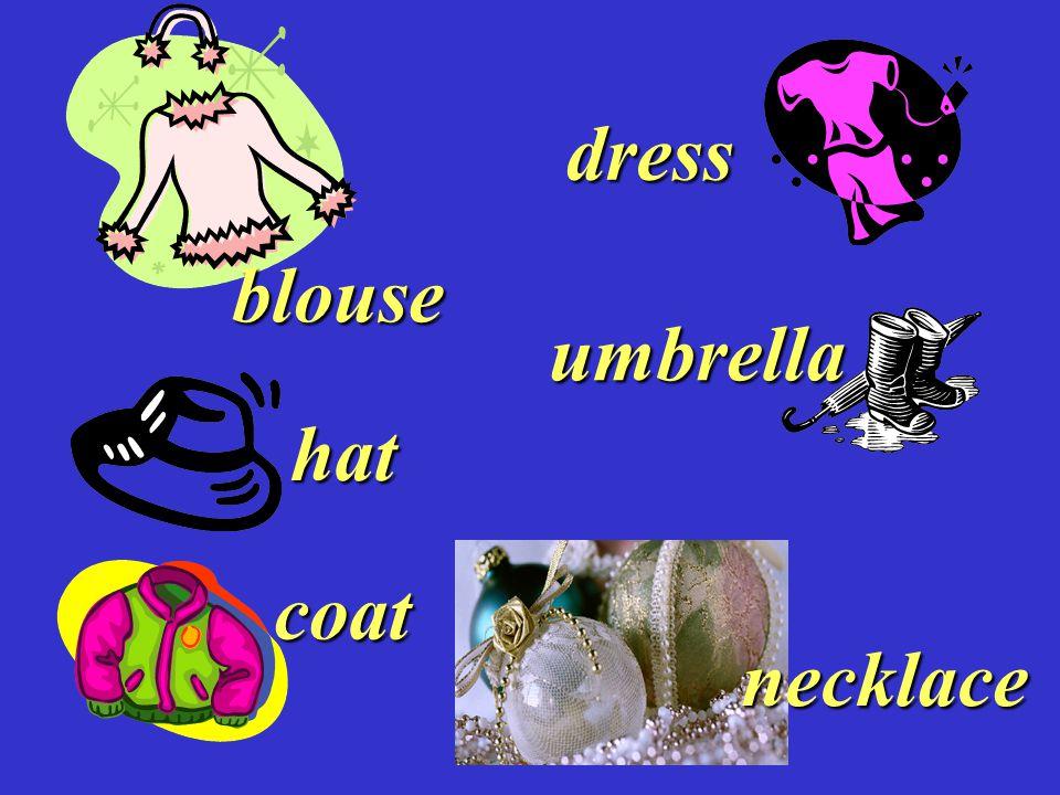 umbrella blouse coat dress hat necklace