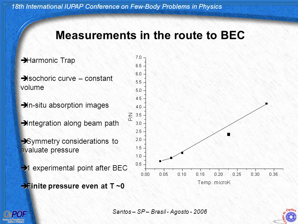 18th International IUPAP Conference on Few-Body Problems in Physics Santos – SP – Brasil - Agosto - 2006 Measurements in the route to BEC  Harmonic T