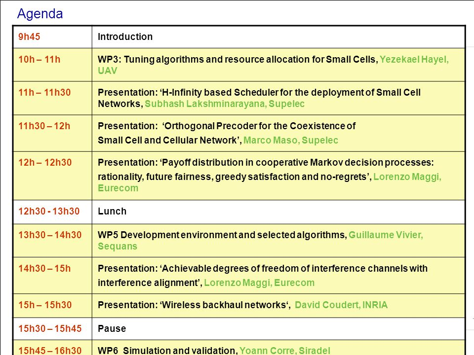 All Rights Reserved © Alcatel-Lucent 2006, ##### Agenda 9h45 Introduction 10h – 11hWP3: Tuning algorithms and resource allocation for Small Cells, Yez