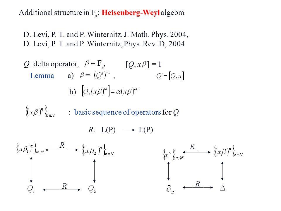 Heisenberg-Weyl Additional structure in F : Heisenberg-Weyl algebra F, [Q, x ] = 1 Q: delta operator, D. Levi, P. T. and P. Winternitz, J. Math. Phys.