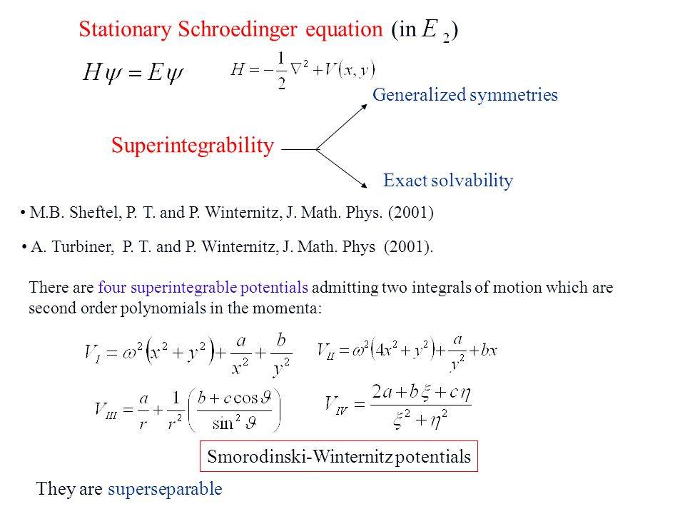 Stationary Schroedinger equation (in ) There are four superintegrable potentials admitting two integrals of motion which are second order polynomials