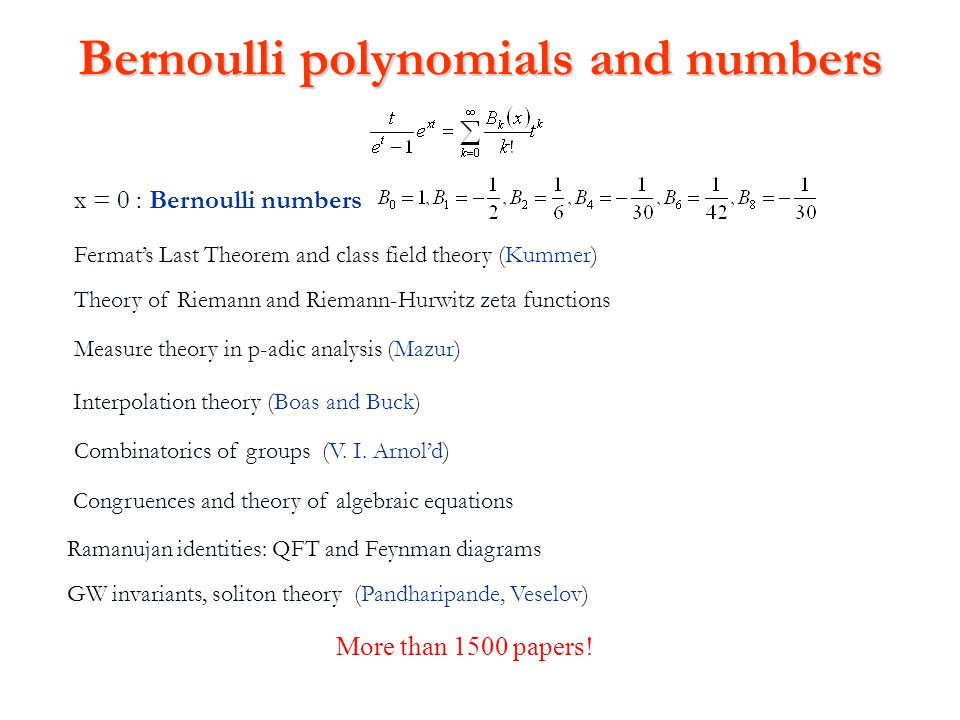 Bernoulli polynomials and numbers x = 0 : Bernoulli numbers Theory of Riemann and Riemann-Hurwitz zeta functions Fermat's Last Theorem and class field