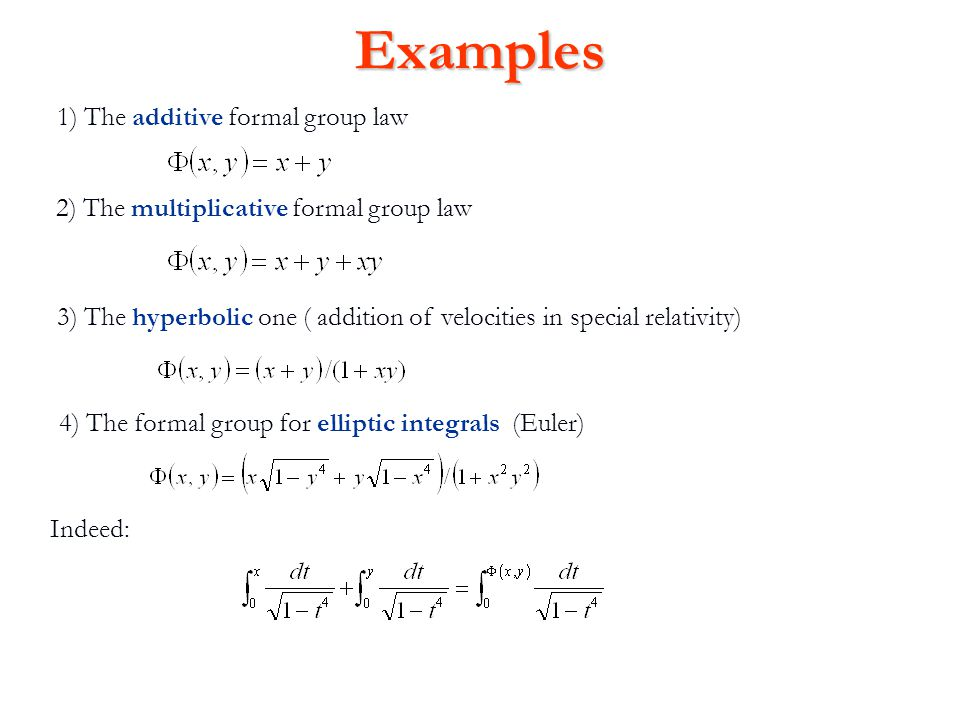 Connection with Lie groups and algebras Let us write: Any n- dimensional formal group law gives an n dimensional Lie algebra over the ring R, defined in terms of the quadratic part : More generally, we can construct a formal group law of dimension n from any algebraic group or Lie group of the same dimension n, by taking coordinates at the identity and writing down the formal power series expansion of the product map.