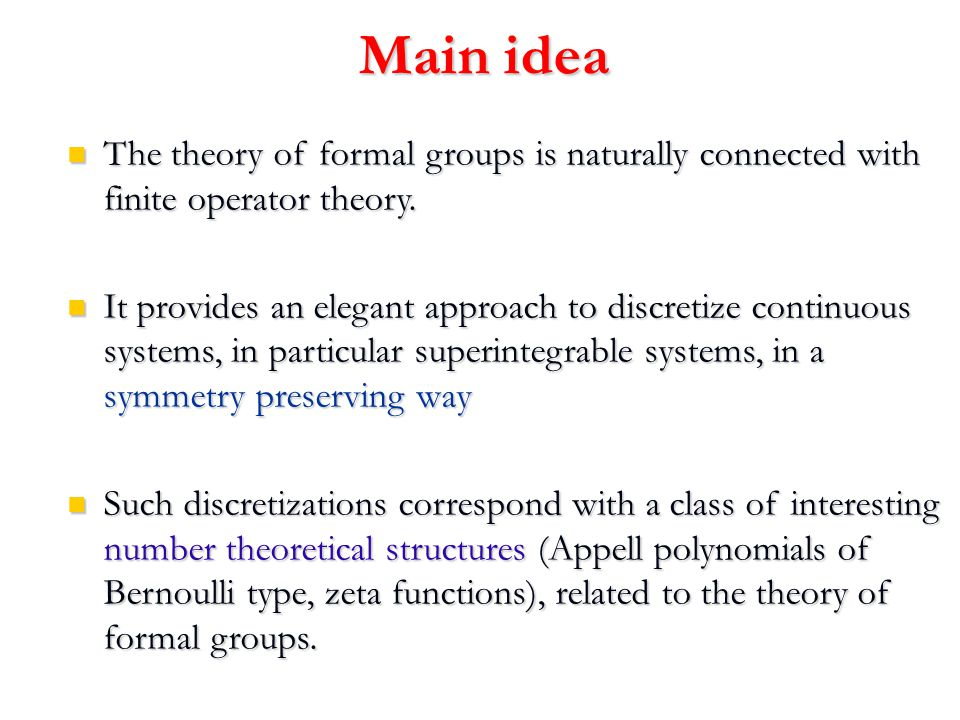 Bernoulli polynomials and numbers x = 0 : Bernoulli numbers Theory of Riemann and Riemann-Hurwitz zeta functions Fermat's Last Theorem and class field theory (Kummer) Measure theory in p-adic analysis (Mazur) Combinatorics of groups (V.