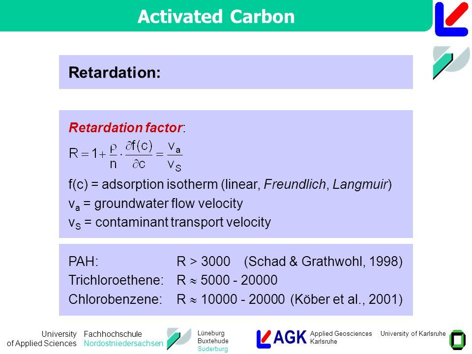 AGK Applied Geosciences University of Karlsruhe Karlsruhe University of Applied Sciences Fachhochschule Nordostniedersachsen Lüneburg Buxtehude Suderburg Retardation factor: f(c) = adsorption isotherm (linear, Freundlich, Langmuir) v a = groundwater flow velocity v S = contaminant transport velocity Retardation: PAH:R > 3000(Schad & Grathwohl, 1998) Trichloroethene:R  5000 - 20000 Chlorobenzene:R  10000 - 20000(Köber et al., 2001) Activated Carbon