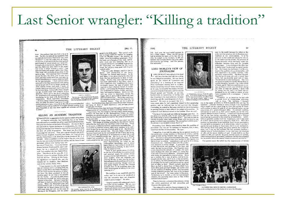 "Last Senior wrangler: ""Killing a tradition"""