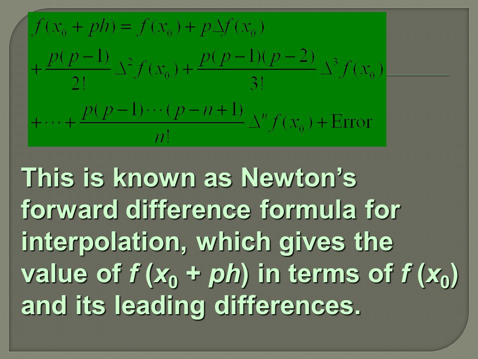 This is known as Newton's forward difference formula for interpolation, which gives the value of f (x 0 + ph) in terms of f (x 0 ) and its leading differences.