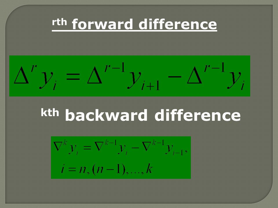 rth forward difference kth backward difference