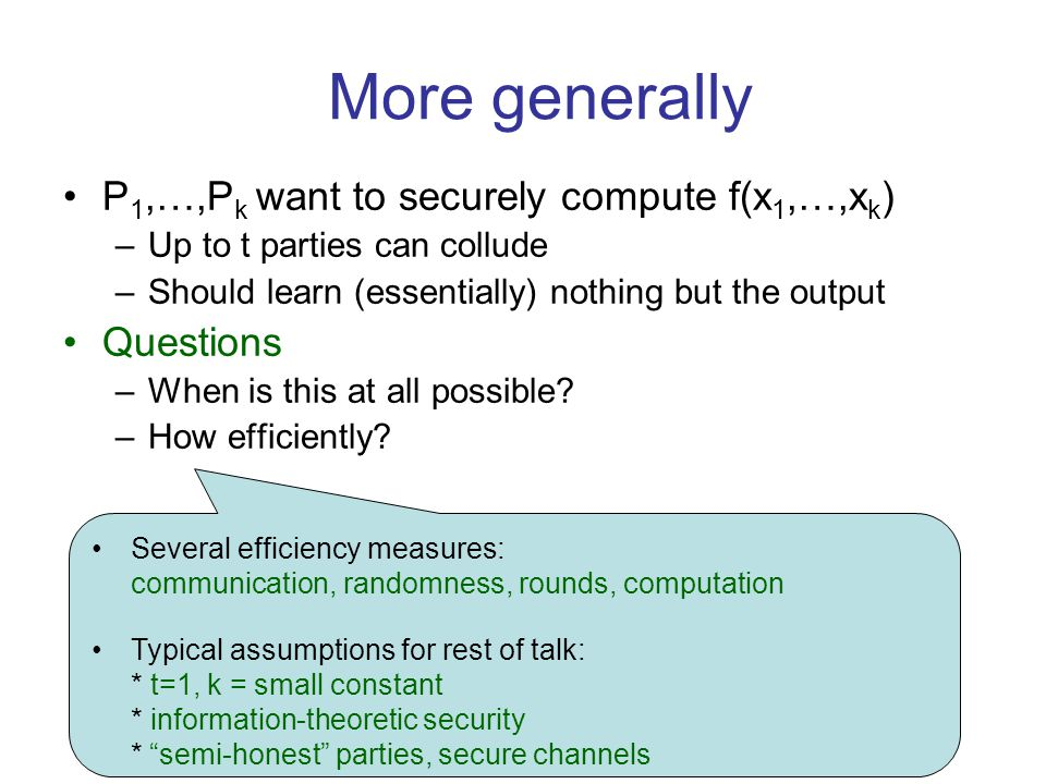 Complexity of PIR: Short Answers k=4,5,6,… –Lower bound [KdW04,…,Woo07]c(k).