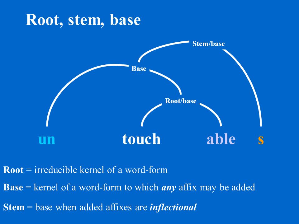 Affixes: prefix and suffix Prefix un s Suffix able touch Base