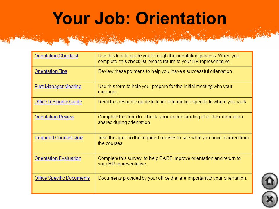 Your Welcome Package Your Job: Orientation About CARE: Orientation