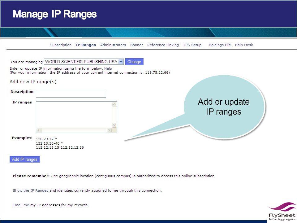 Add or update IP ranges