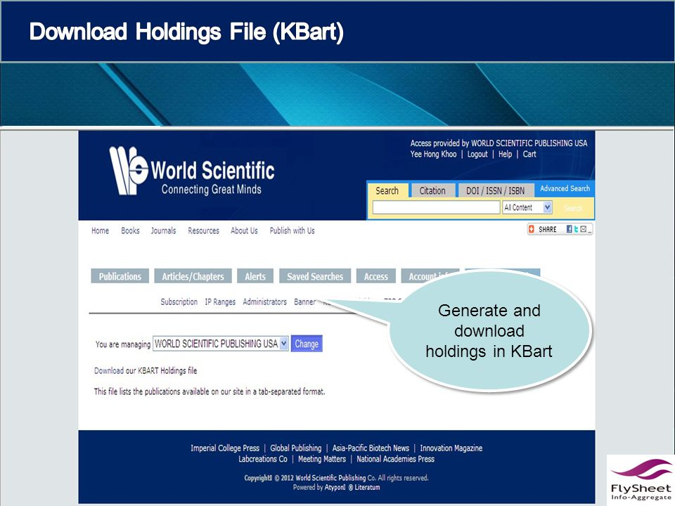 Generate and download holdings in KBart