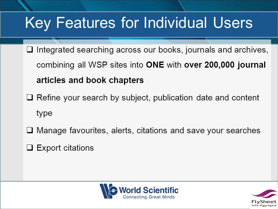 Search across all our books and journals Search for articles and chapters by citation or DOI Advanced Search capabilities (by title, author, keywords)