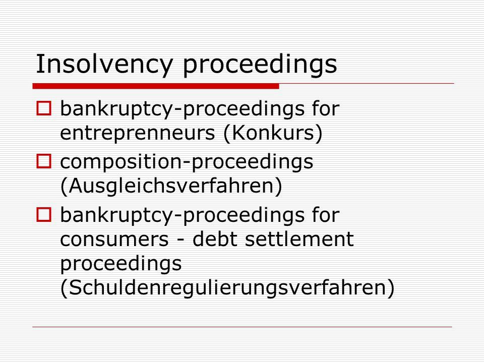 Insolvency proceedings  bankruptcy-proceedings for entreprenneurs (Konkurs)  composition-proceedings (Ausgleichsverfahren)  bankruptcy-proceedings for consumers - debt settlement proceedings (Schuldenregulierungsverfahren)
