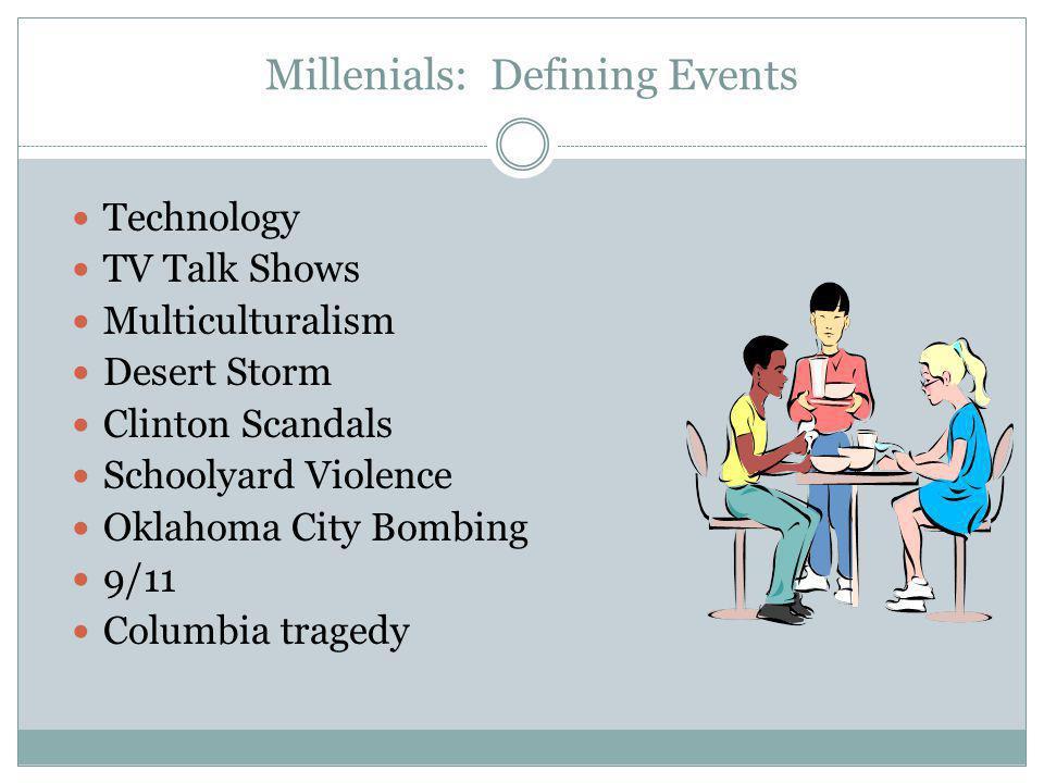 Millenials: Defining Events Technology TV Talk Shows Multiculturalism Desert Storm Clinton Scandals Schoolyard Violence Oklahoma City Bombing 9/11 Col