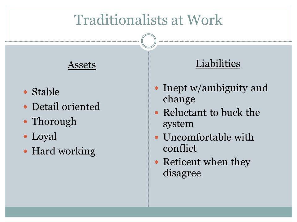 Traditionalists at Work Assets Stable Detail oriented Thorough Loyal Hard working Liabilities Inept w/ambiguity and change Reluctant to buck the syste