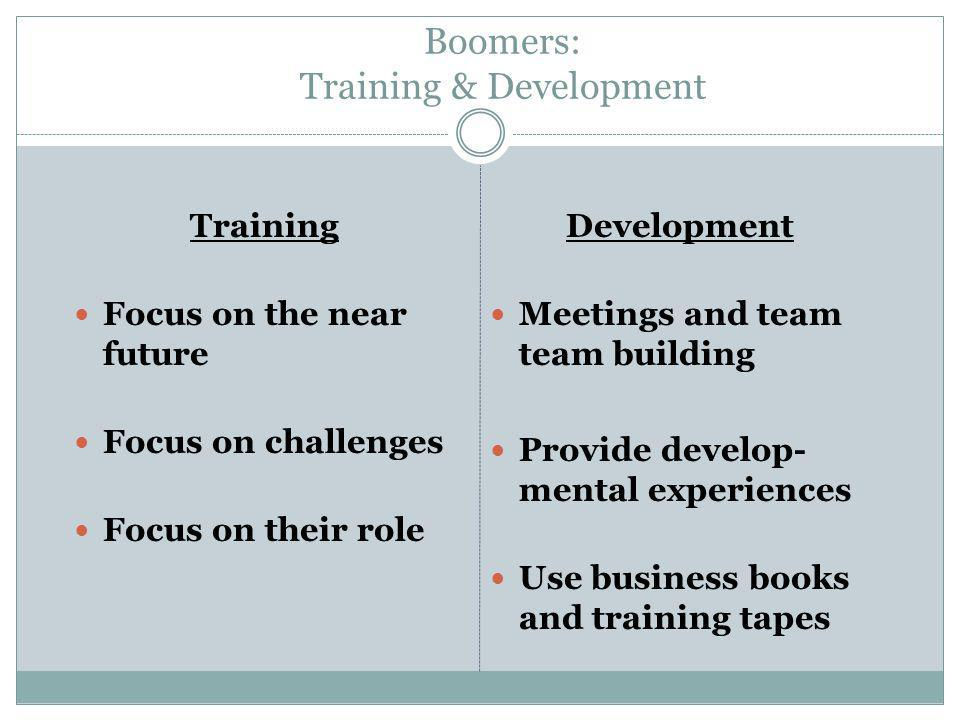 Boomers: Training & Development Training Focus on the near future Focus on challenges Focus on their role Development Meetings and team team building