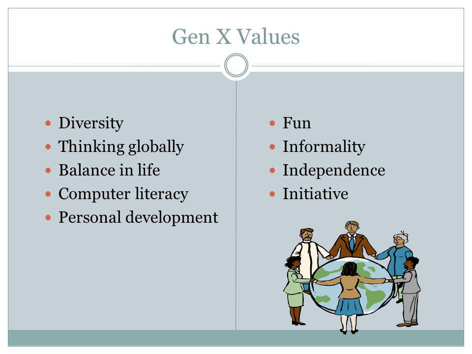 Gen X Values Diversity Thinking globally Balance in life Computer literacy Personal development Fun Informality Independence Initiative