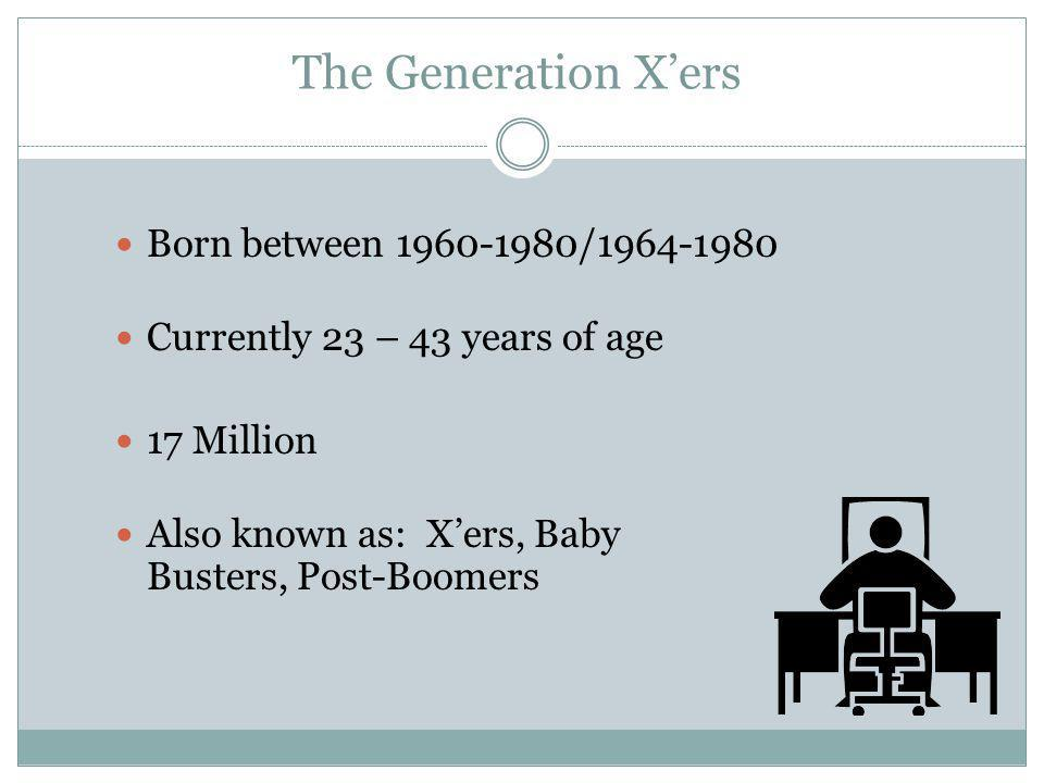 The Generation Y's or Millennials Born between 1980 and 2000 Under 23 years of age 68 Million Strong Also known as the: Nexters, Nintendo Generation, Internet Generation