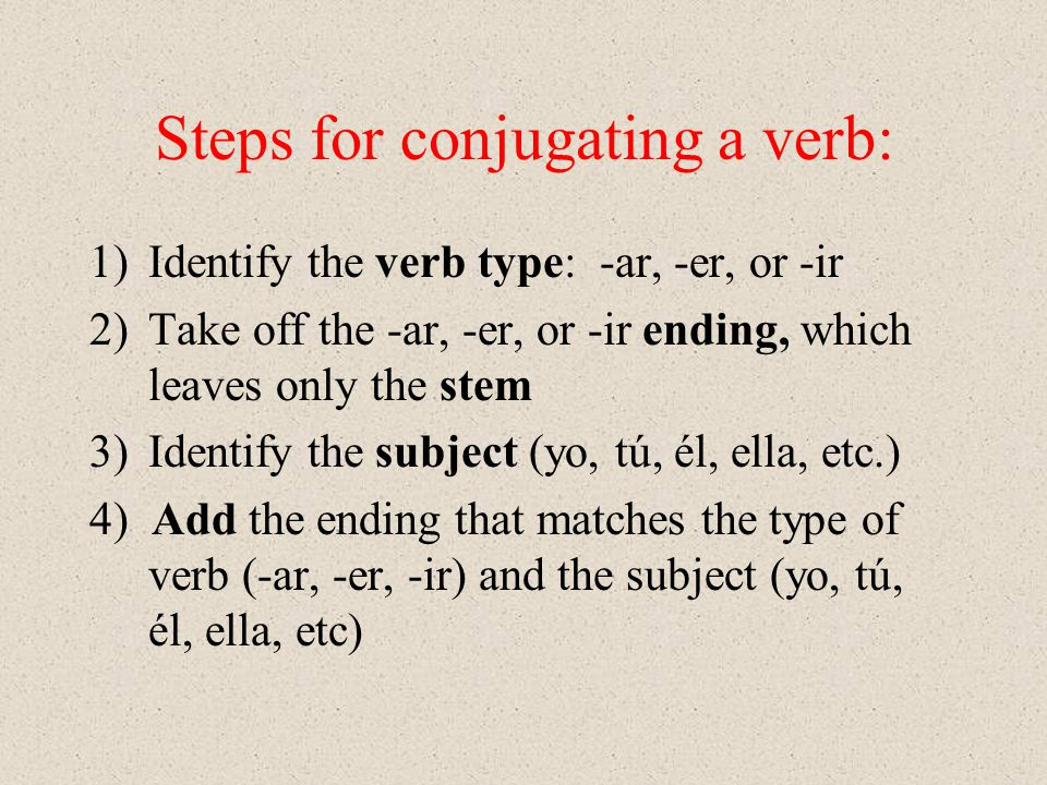 Steps for conjugating a verb: 1)Identify the verb type: -ar, -er, or -ir 2)Take off the -ar, -er, or -ir ending, which leaves only the stem 3)Identify