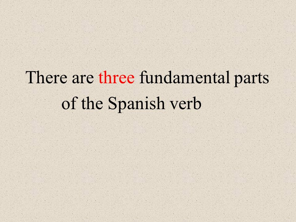 The fundamental parts of the Spanish verb The infinitive: The basic, unconjugated form, the one that corresponds to the English to do (something).