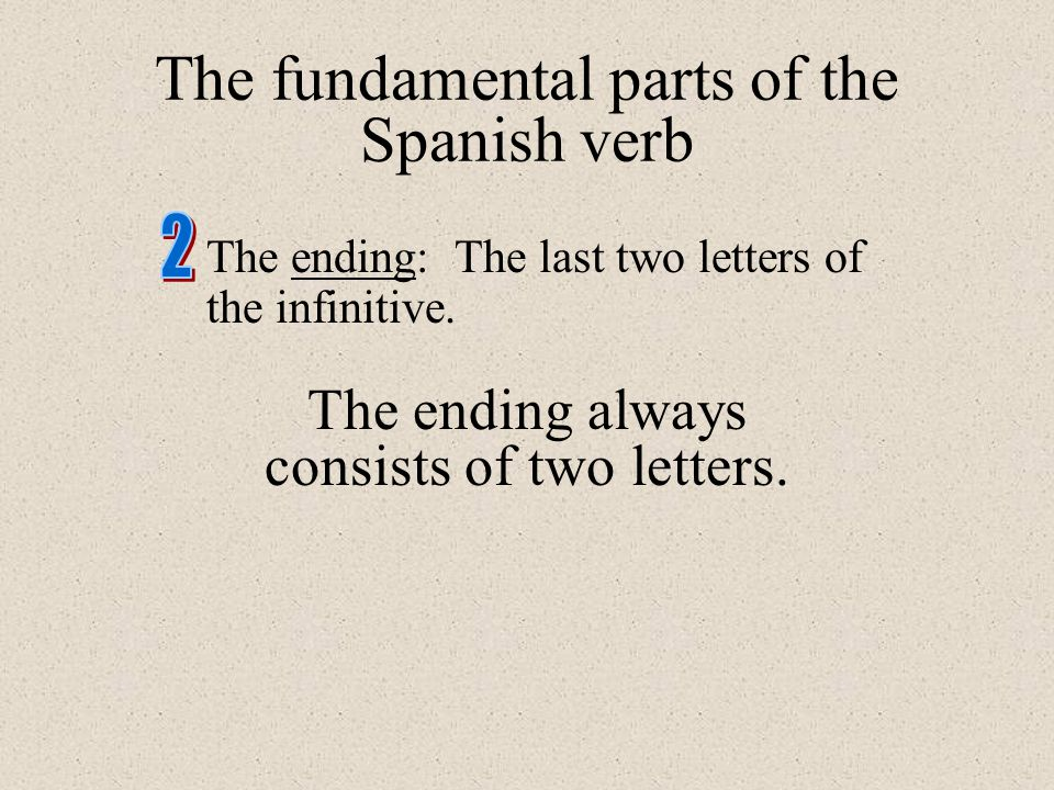 The ending: The last two letters of the infinitive. The ending always consists of two letters. The fundamental parts of the Spanish verb