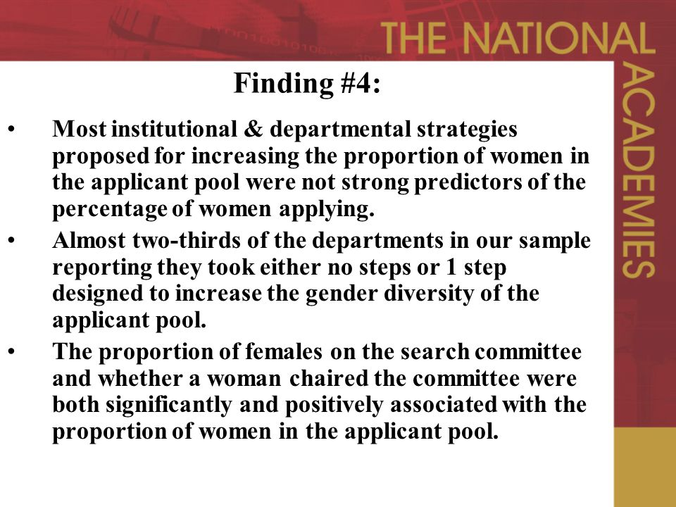 Finding #4: Most institutional & departmental strategies proposed for increasing the proportion of women in the applicant pool were not strong predictors of the percentage of women applying.
